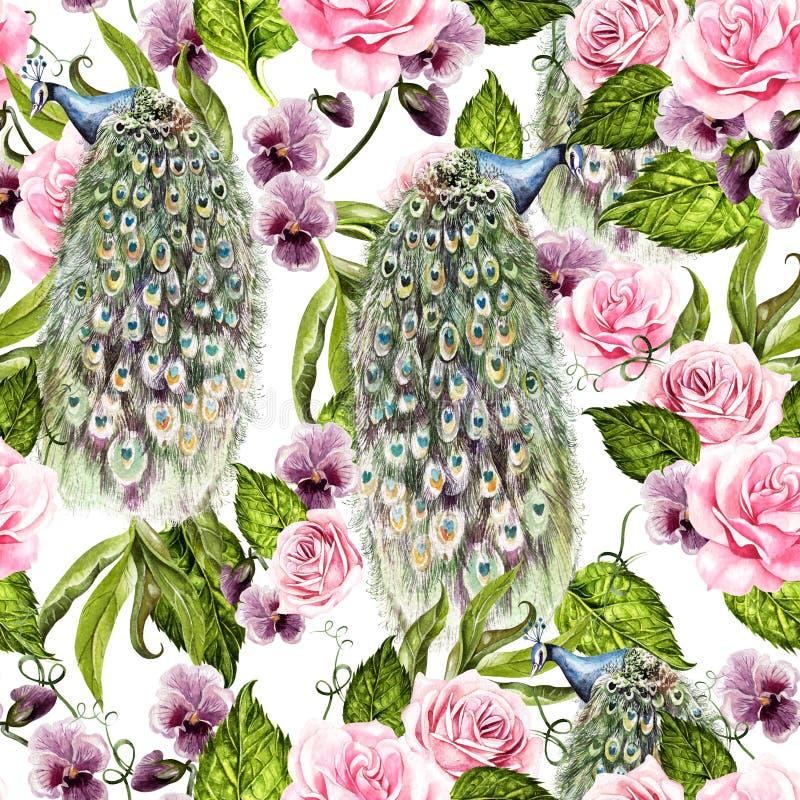Teste padr?o sem emenda da aquarela brilhante com as flores da violeta e das rosas, p?ssaro do pav ilustração stock