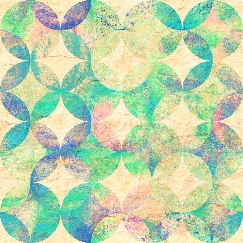 Teste padrão sem emenda da aquarela colorida do grunge do sumário com círculos de sobreposição no fundo de papel velho ilustração do vetor
