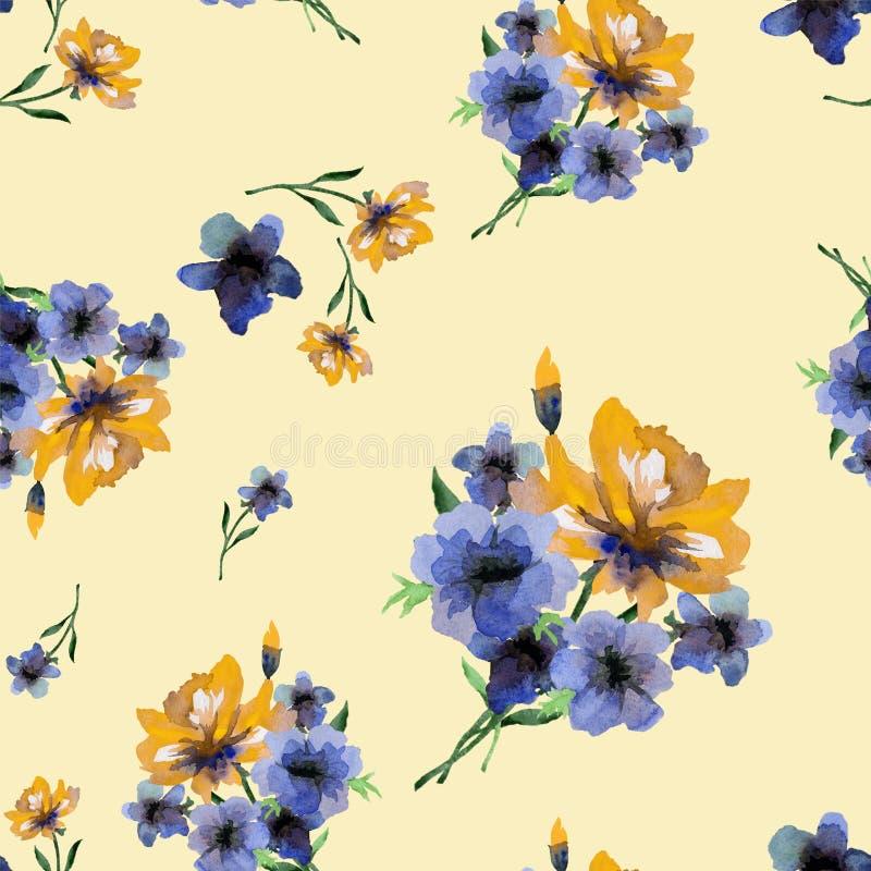 Teste padrão sem emenda da aquarela com as flores azuis e amarelas da mola na luz - fundo amarelo ilustração royalty free