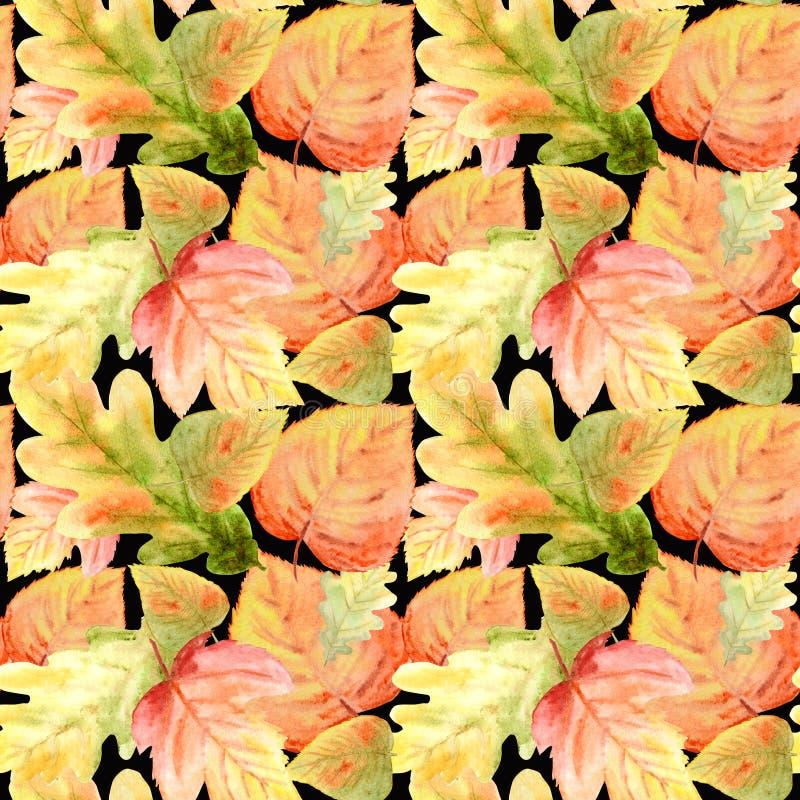 Teste padrão sem emenda da aquarela com as folhas brilhantes da floresta das cores Fundo do outono na laranja, verde bonito, amar ilustração royalty free