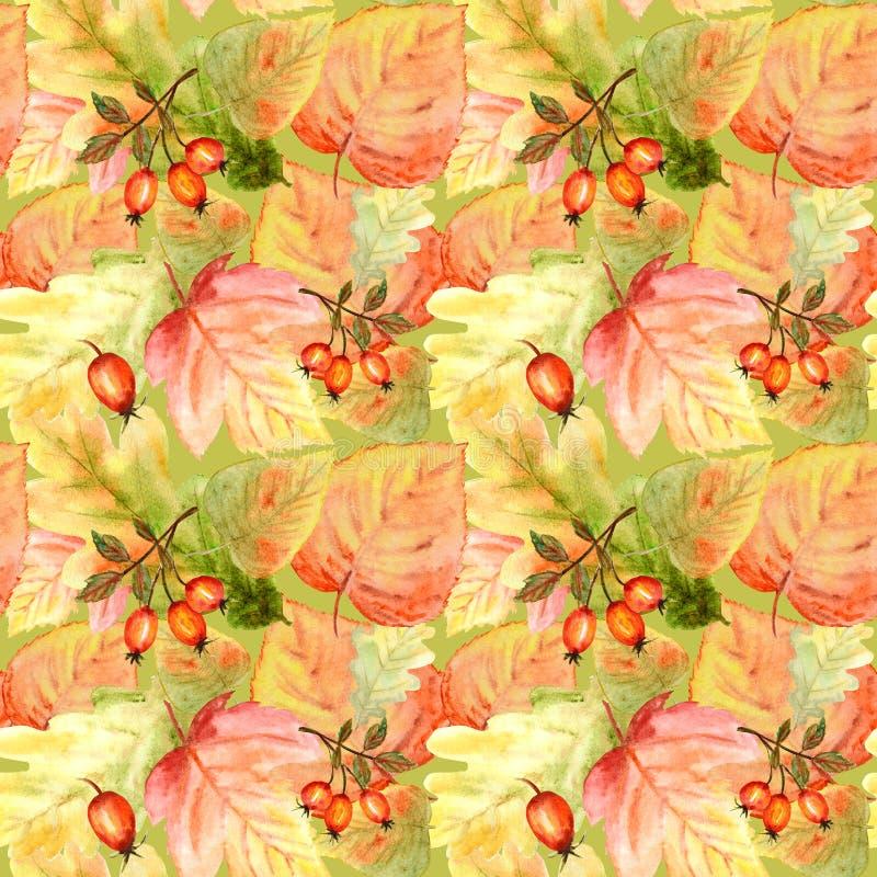 Teste padrão sem emenda da aquarela com as folhas e ramos brilhantes da floresta das cores Fundo bonito do outono na laranja, ver ilustração do vetor