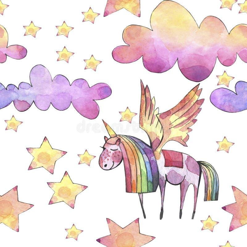 Teste padrão sem emenda da aquarela com as nuvens, a lua e as estrelas brilhantes do arco-íris no fundo branco ilustração royalty free