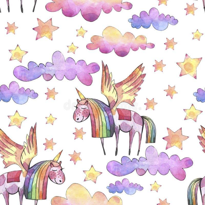 Teste padrão sem emenda da aquarela com as nuvens, a lua e as estrelas brilhantes do arco-íris no fundo branco ilustração stock