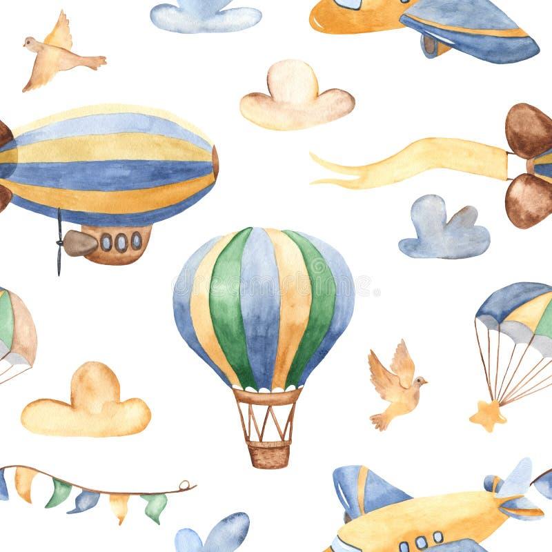Teste padrão sem emenda da aquarela com aviões bonitos, helicópteros, dirigível, balão ilustração do vetor