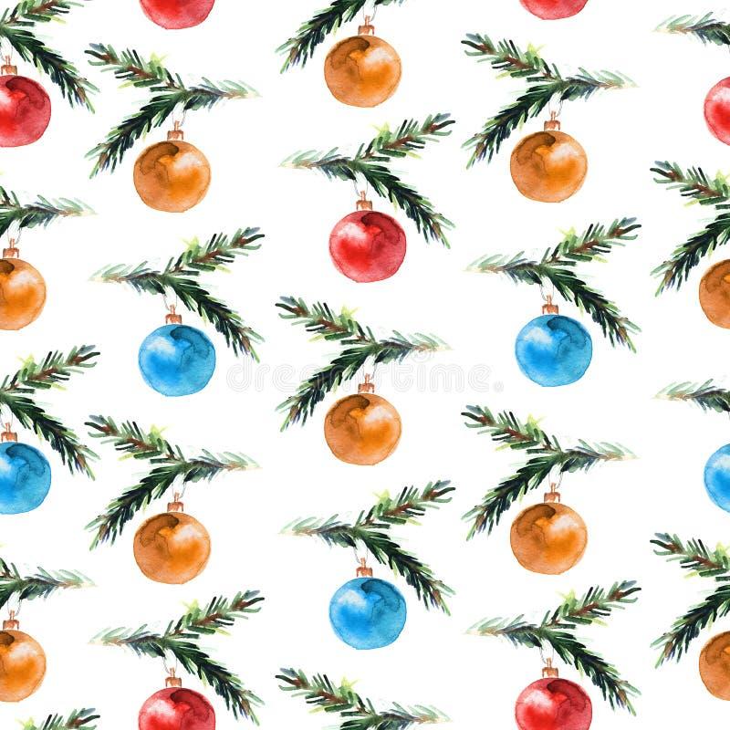 Teste padrão sem emenda da aquarela com bolas do Natal ilustração do vetor
