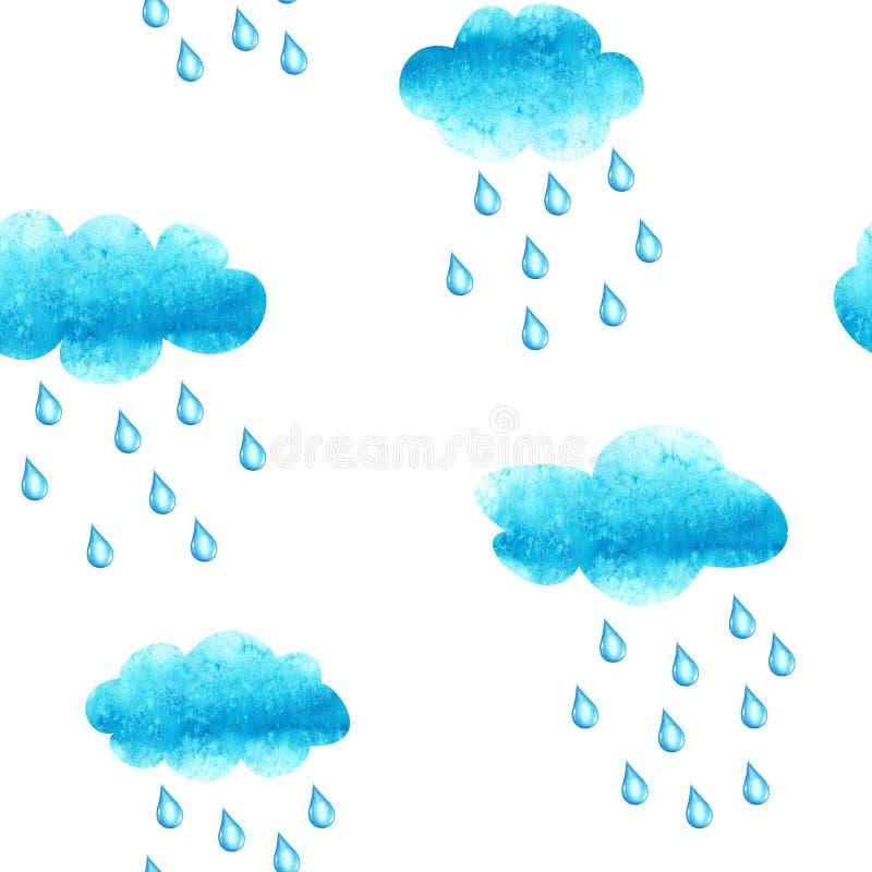 Teste padrão sem emenda da aquarela com cluods e gotas da chuva ilustração stock