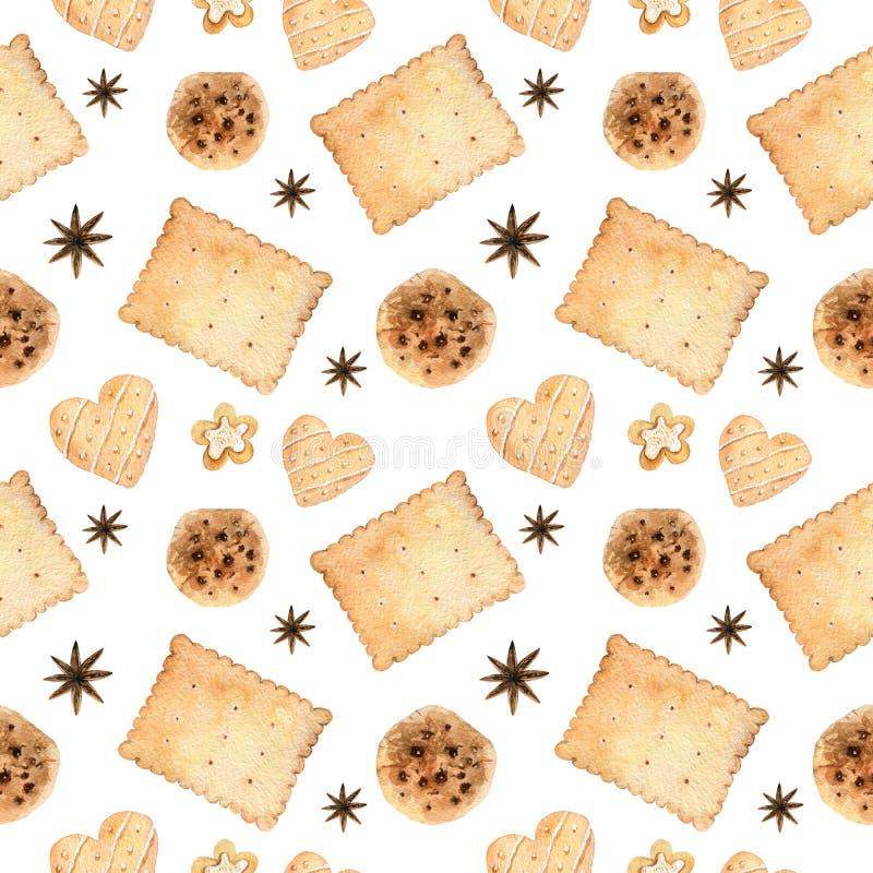 Teste padrão sem emenda da aquarela com cookies e biscoitos dos pedaços de chocolate ilustração do vetor