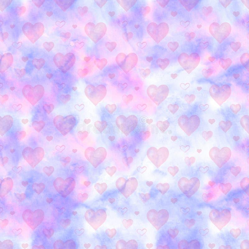 Teste padrão sem emenda da aquarela com corações e as nuvens cor-de-rosa Aperfeiçoe para o cartão, papel de parede, projeto de ma ilustração royalty free