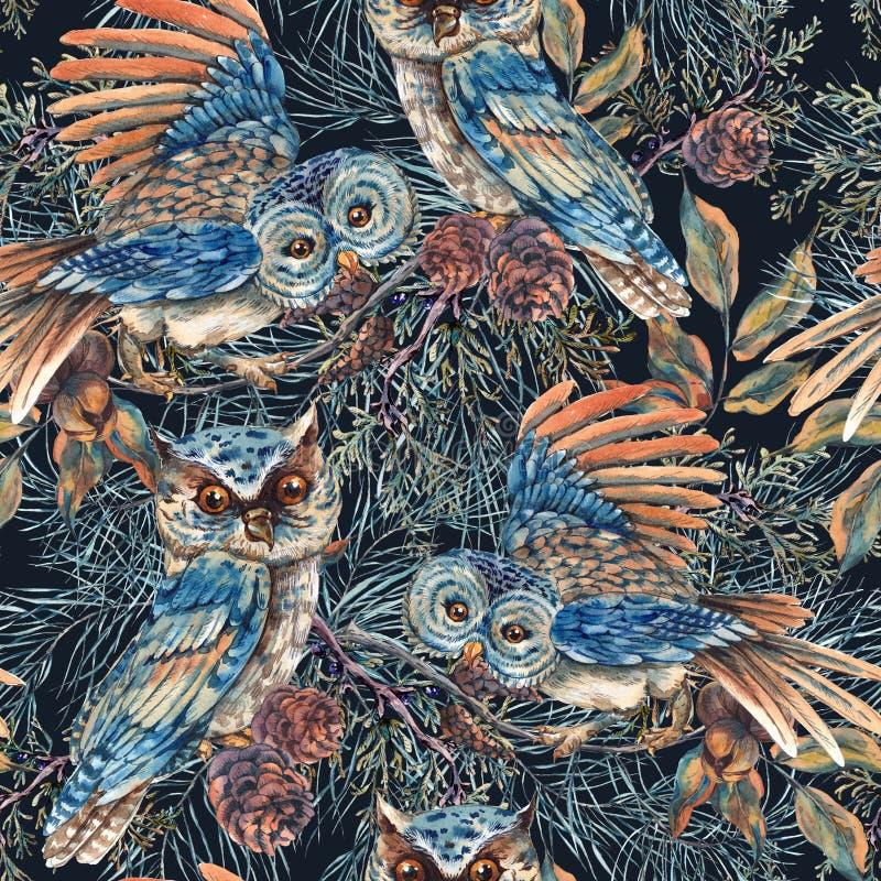 Teste padrão sem emenda da aquarela com corujas ilustração royalty free