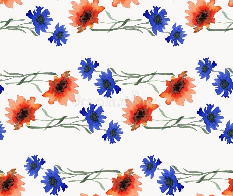 Teste padrão sem emenda da aquarela com a festão horizontal bonita da laranja selvagem e de flores azuis no fundo branco ilustração do vetor
