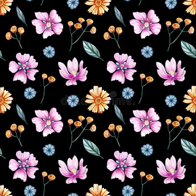 Teste padrão sem emenda da aquarela com flores selvagens em um fundo preto ilustração royalty free