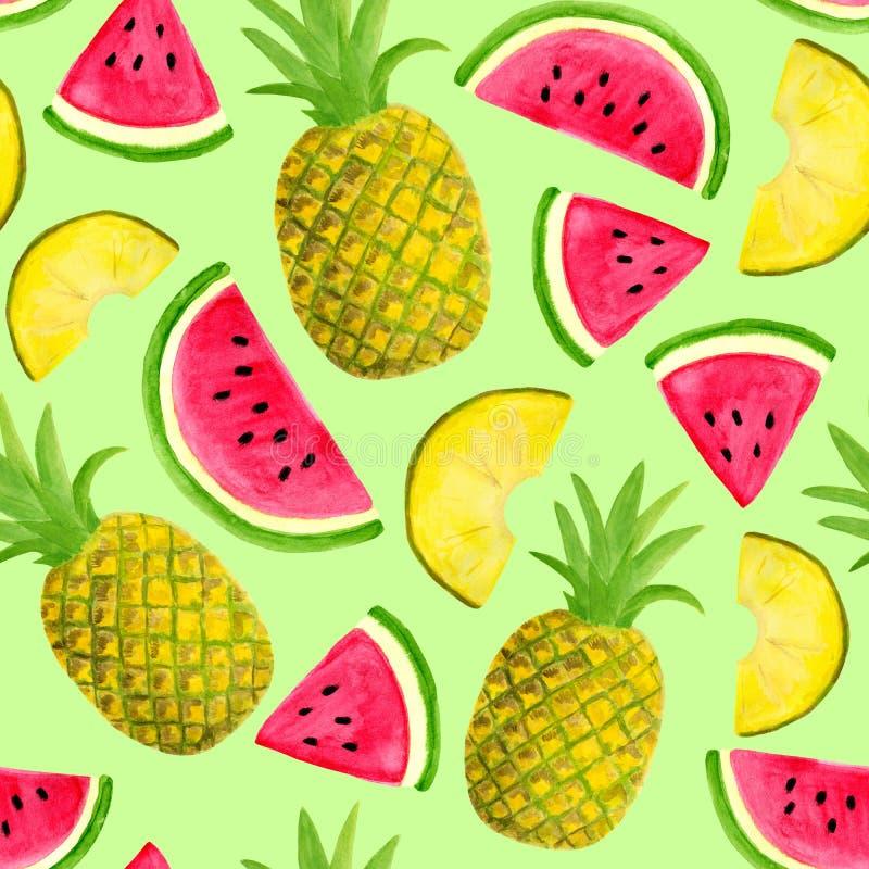 Teste padrão sem emenda da aquarela com a melancia e o abacaxi isolados no fundo verde pastel Frutos e fatias tirados mão para ilustração do vetor