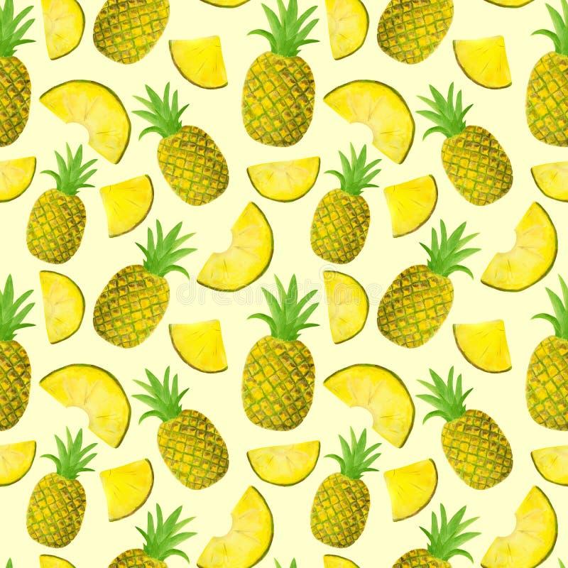 Teste padrão sem emenda da aquarela com o abacaxi isolado no fundo amarelo pastel Frutos e fatias tirados mão para o empacotament ilustração stock