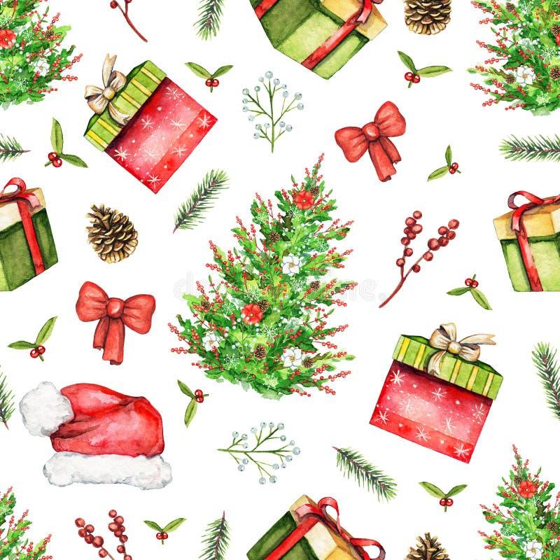 Teste padrão sem emenda da aquarela com objetos do Natal ilustração do vetor
