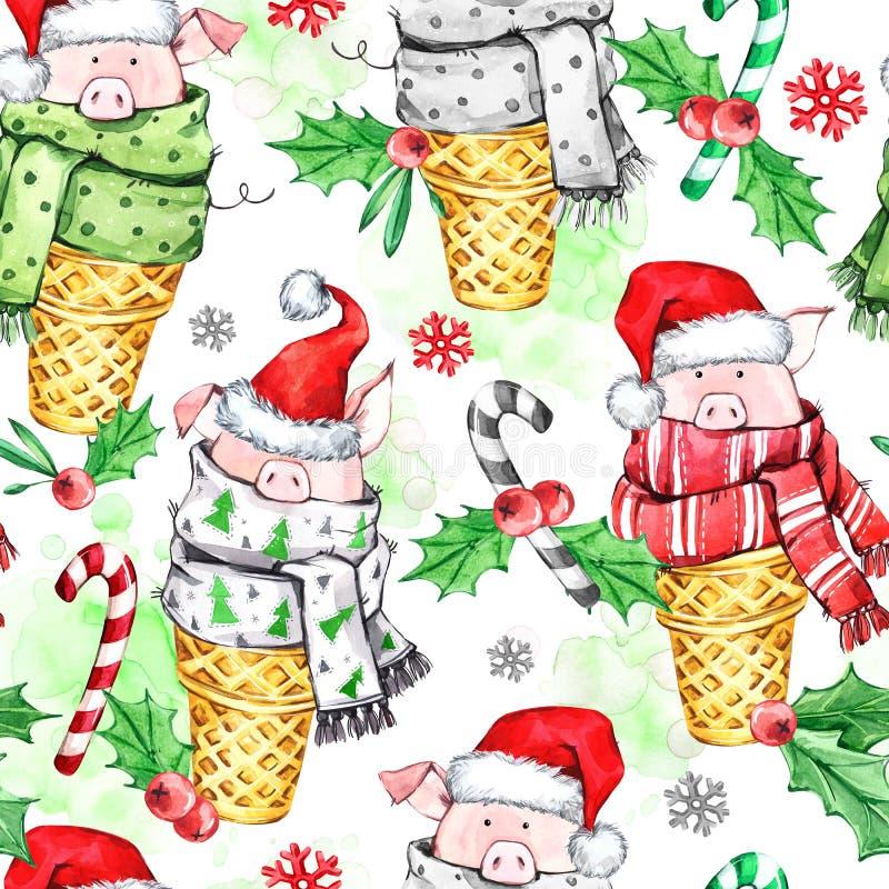 Teste padrão sem emenda da aquarela com os porcos bonitos com o chapéu de Santa em cones do waffle Ano novo Ilustração da celebra imagem de stock royalty free