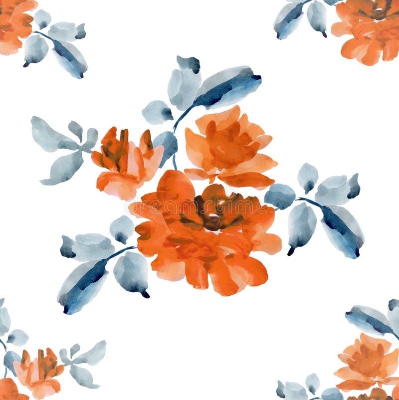 Teste padrão sem emenda da aquarela com os ramalhetes de rosas alaranjadas no fundo branco ilustração stock