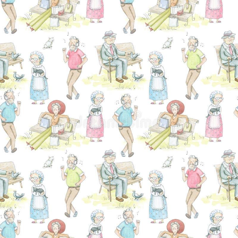 Teste padrão sem emenda da aquarela com pessoas adultas dos desenhos animados ilustração royalty free