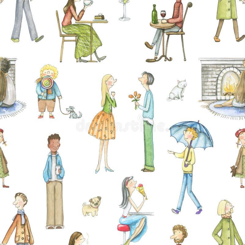 Teste padrão sem emenda da aquarela com povos dos desenhos animados ilustração royalty free