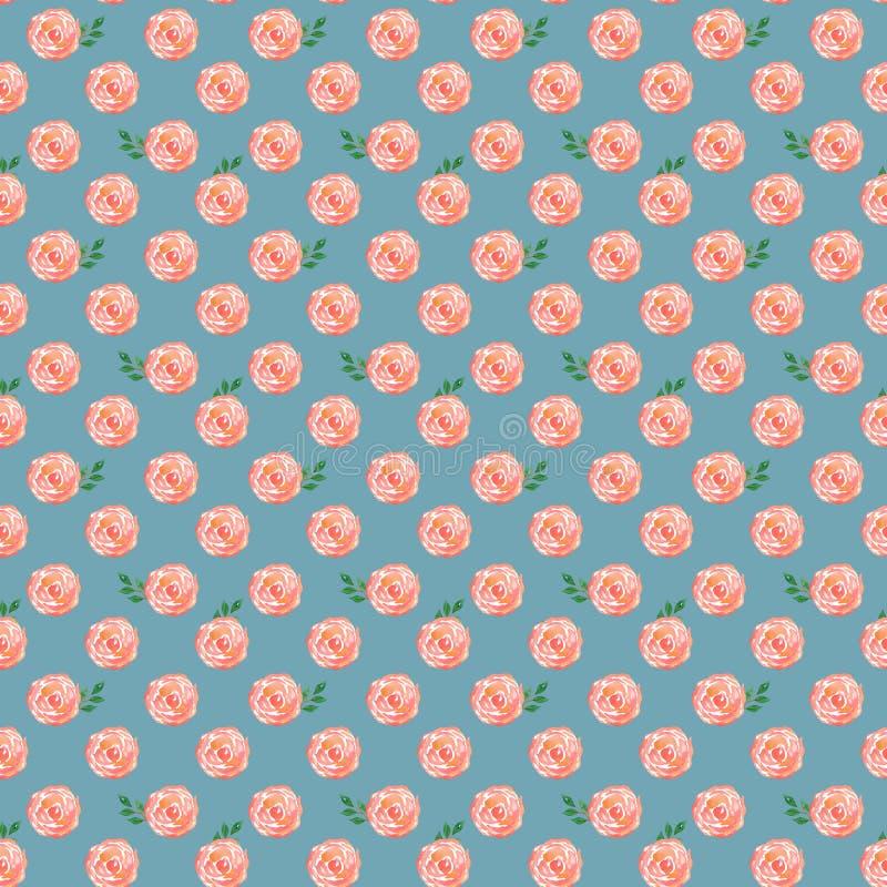 Teste padrão sem emenda da aquarela com rosas estilizados em um fundo azul ilustração do vetor