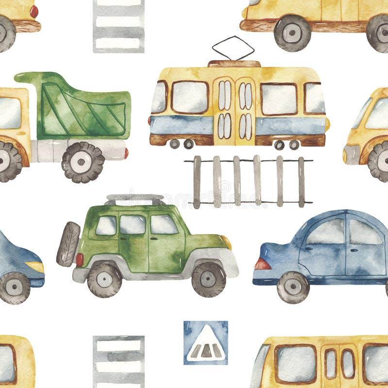 Teste padrão sem emenda da aquarela com transporte bonito dos desenhos animados urbanos Textura para o projeto à rapaz, aniversár ilustração royalty free