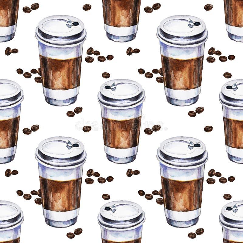 Teste padrão sem emenda da aquarela com xícaras de café dos materiais descartáveis ilustração royalty free