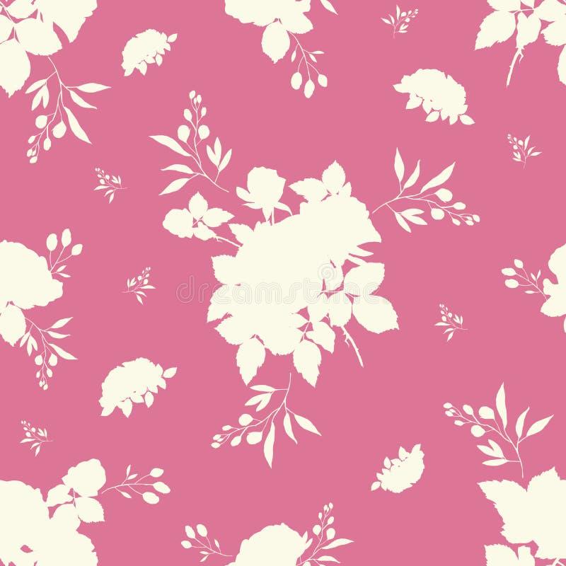Teste padrão sem emenda da aquarela cor-de-rosa do ramalhete das rosas ilustração royalty free