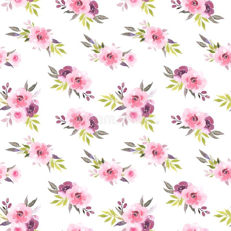 Teste padrão sem emenda da aquarela cor-de-rosa do ramalhete das rosas ilustração do vetor