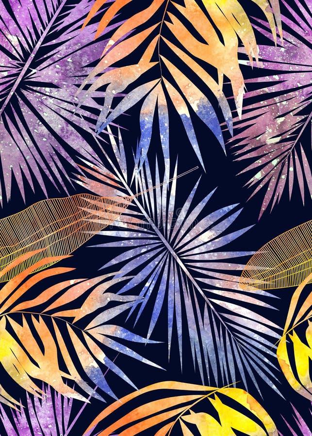 Teste padrão sem emenda da aquarela das folhas tropicais ilustração royalty free