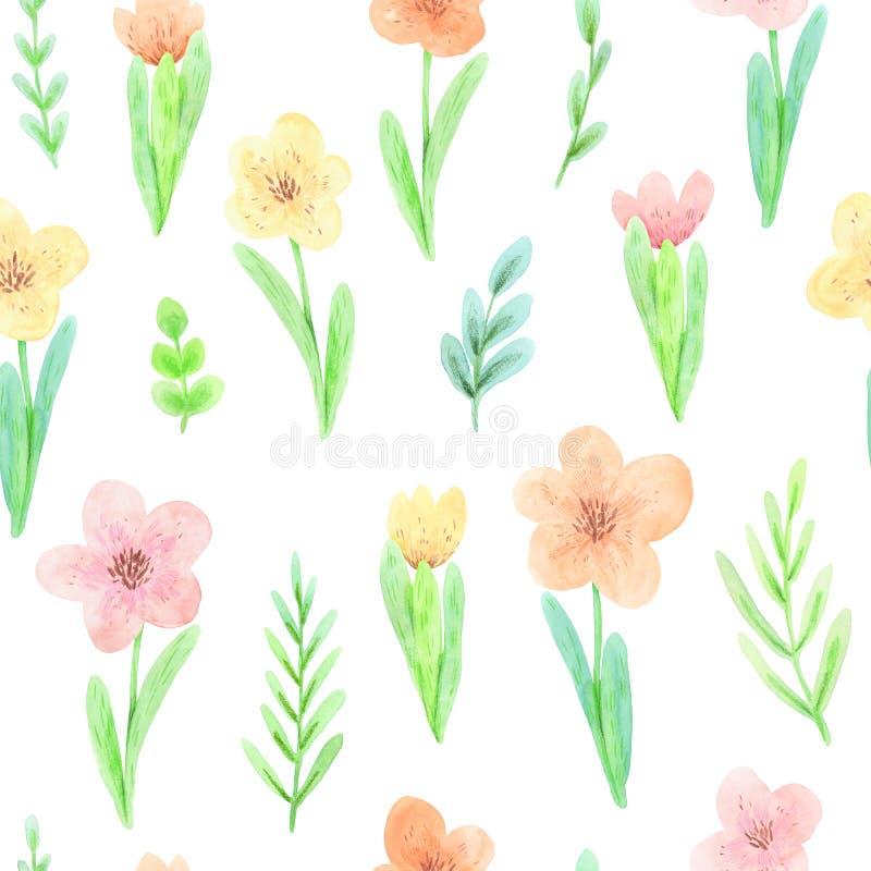 Teste padr?o sem emenda da aquarela de flores e das hortali?as de floresc?ncia da mola ilustração do vetor