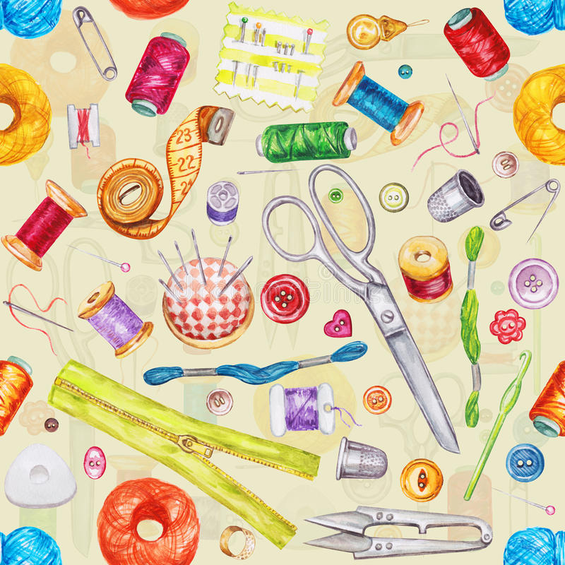 Teste padrão sem emenda da aquarela de várias ferramentas da costura Jogo Sewing ilustração royalty free