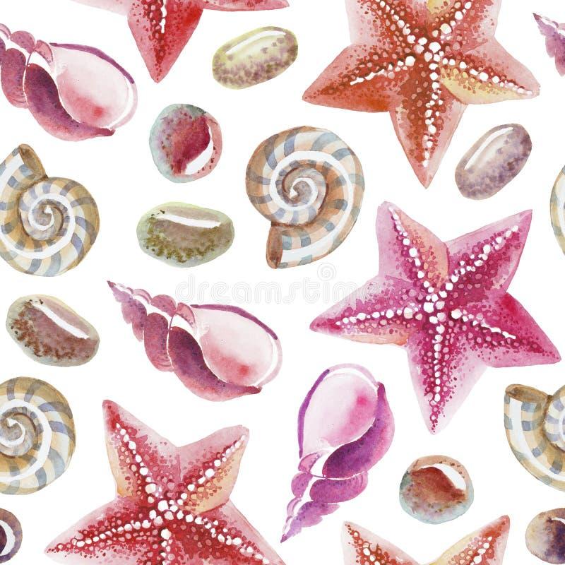 Teste padrão sem emenda da aquarela do shell, da estrela do mar e do seixo tópicos ilustração royalty free