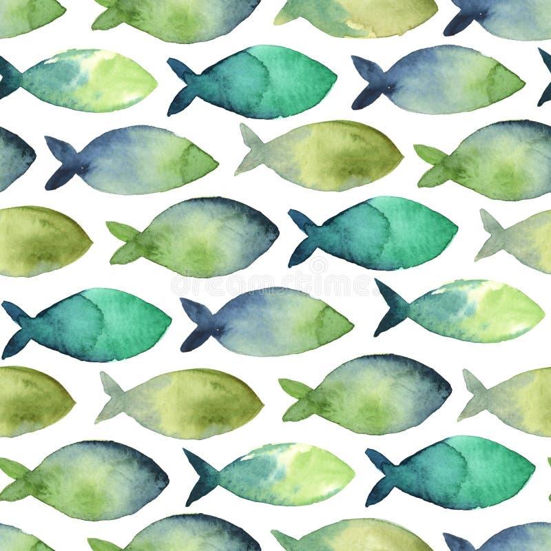 Teste padrão sem emenda da aquarela do verde simples e do azul da silhueta ilustração stock