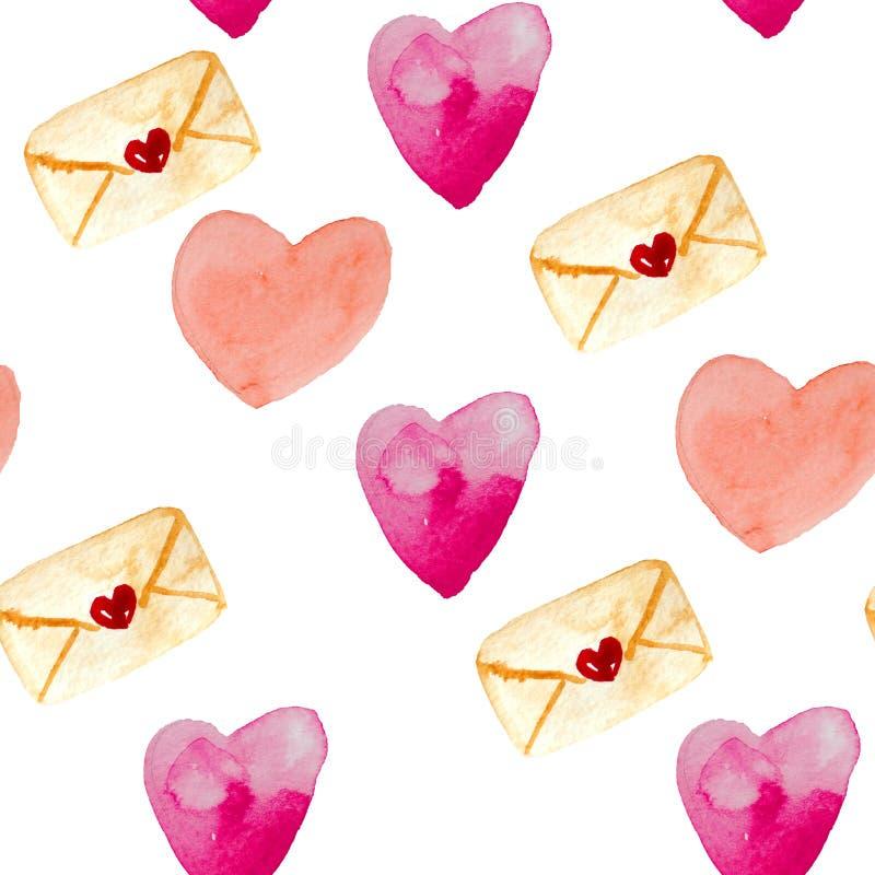 Teste padrão sem emenda da aquarela dos envelopes, corações em cores vermelhas e cor-de-rosa ilustração stock