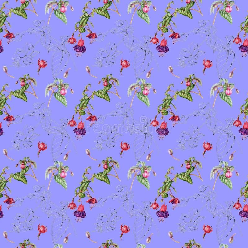 Teste padrão sem emenda da aquarela dos galhos, das flores e de frutos fúcsia ilustração stock