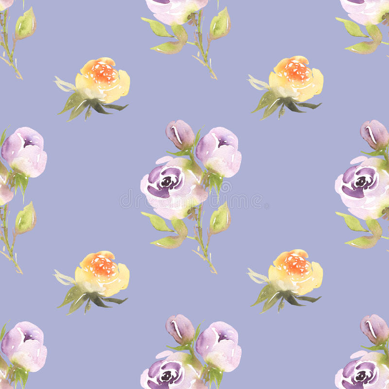 Teste padrão sem emenda da aquarela dos ramalhetes das rosas em amarelo e em violeta ilustração royalty free