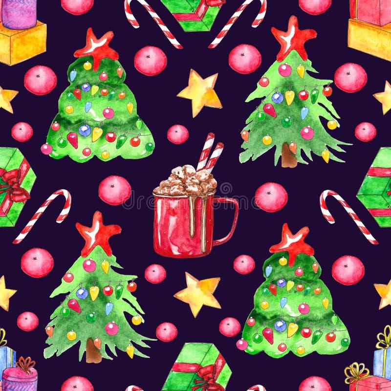 Teste padrão sem emenda da aquarela Elementos do Natal ilustração stock
