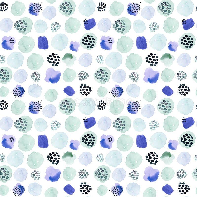 Teste padrão sem emenda da aquarela, estilo da forma de memphis do ponto, projeto brilhante que repete o fundo Escova moderna pin ilustração stock