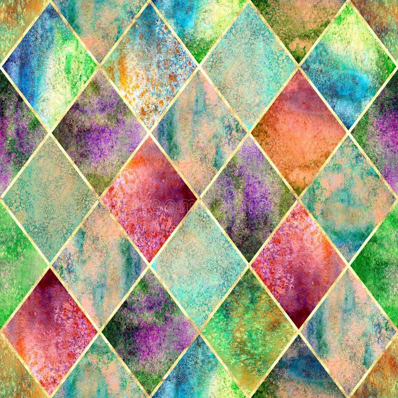 Teste padrão sem emenda da aquarela geométrica de Argyle ilustração royalty free