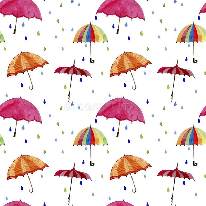 Teste padrão sem emenda da aquarela Guarda-chuvas e gotas da chuva no fundo branco ilustração do vetor