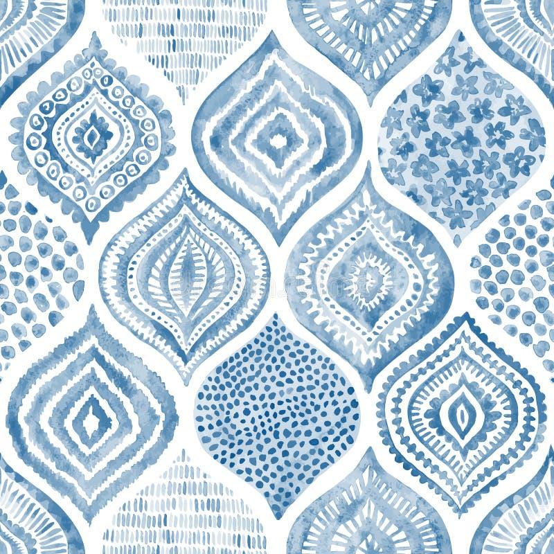 Teste padrão sem emenda da aquarela Ornamento azul e branco do vintage te ilustração royalty free