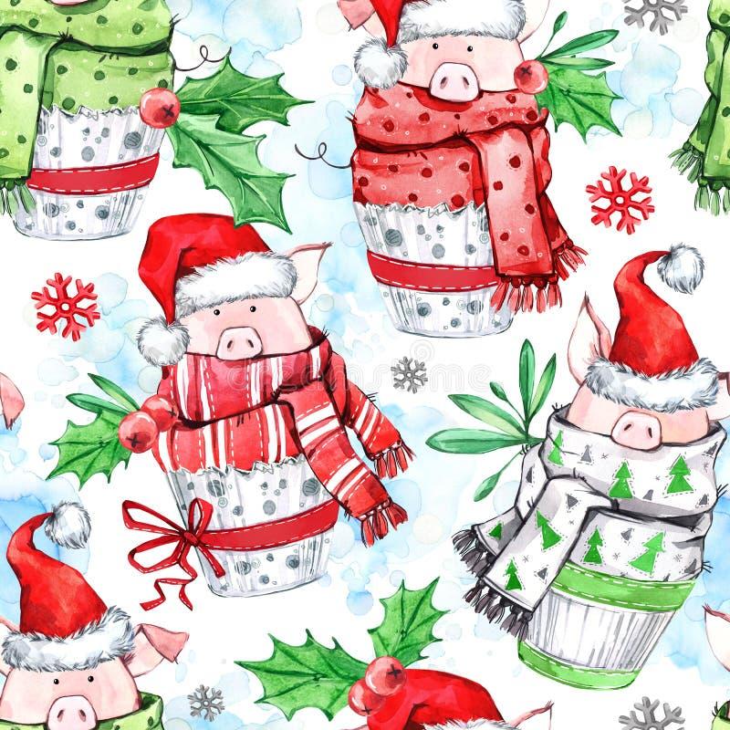 Teste padrão sem emenda da aquarela Porcos bonitos com o lenço nos queques Ano novo Ilustração da celebração Feliz Natal fotos de stock
