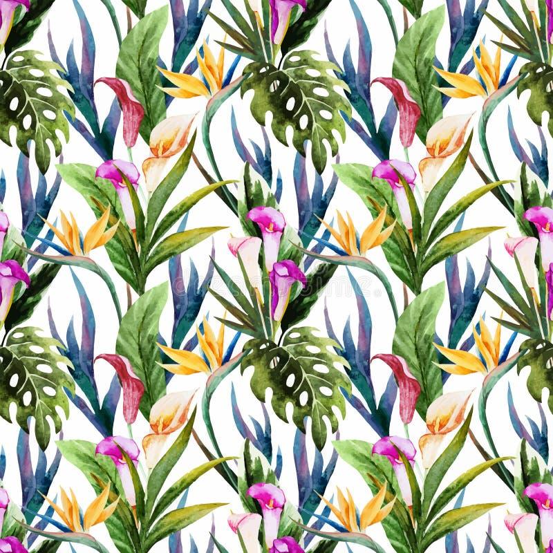 Teste padrão sem emenda da aquarela tropical ilustração do vetor