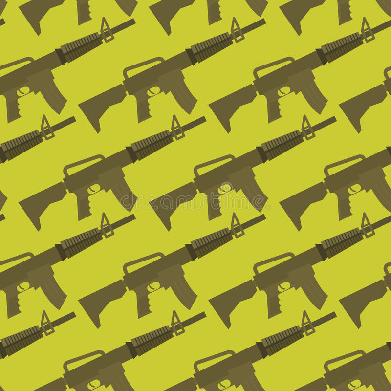 Teste padrão sem emenda da arma automática fundo militar ilustração do vetor