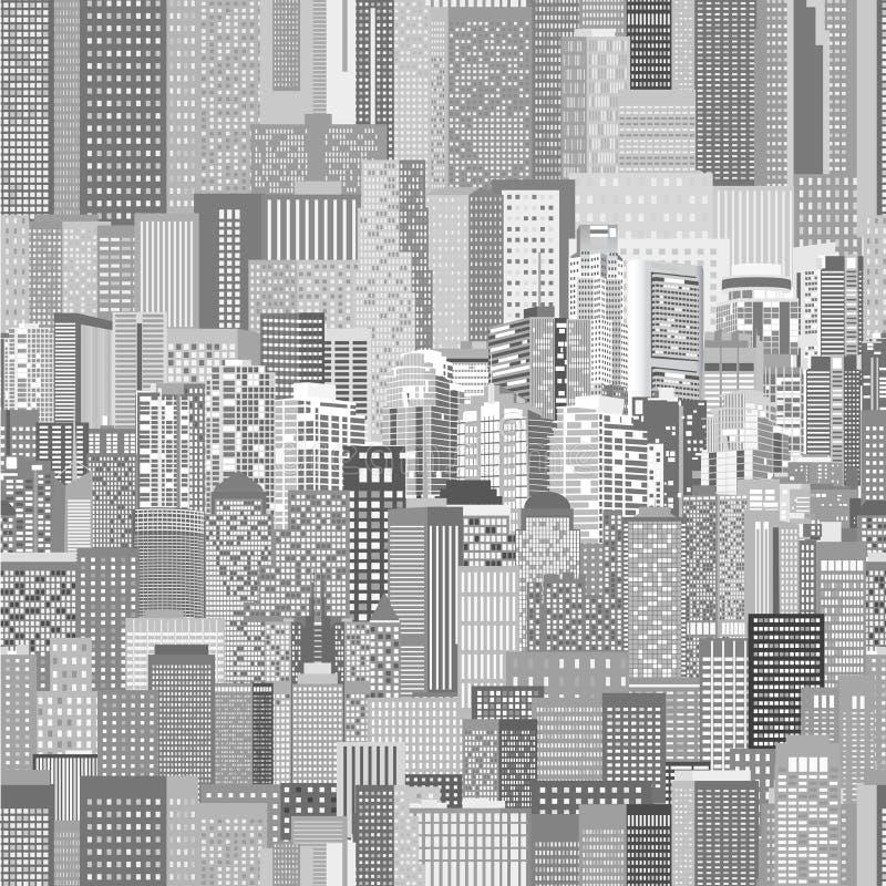Teste padrão sem emenda da arquitetura urbana do vetor ilustração stock