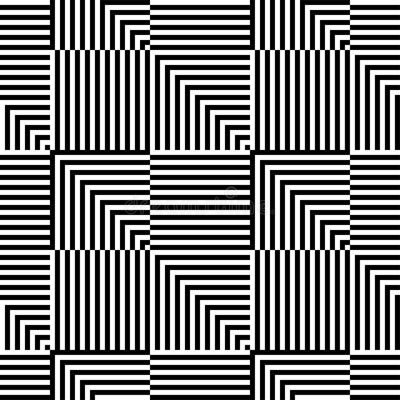 Teste padrão sem emenda da arte op do vetor abstrato Ornamento gráfico monocromático ilustração do vetor