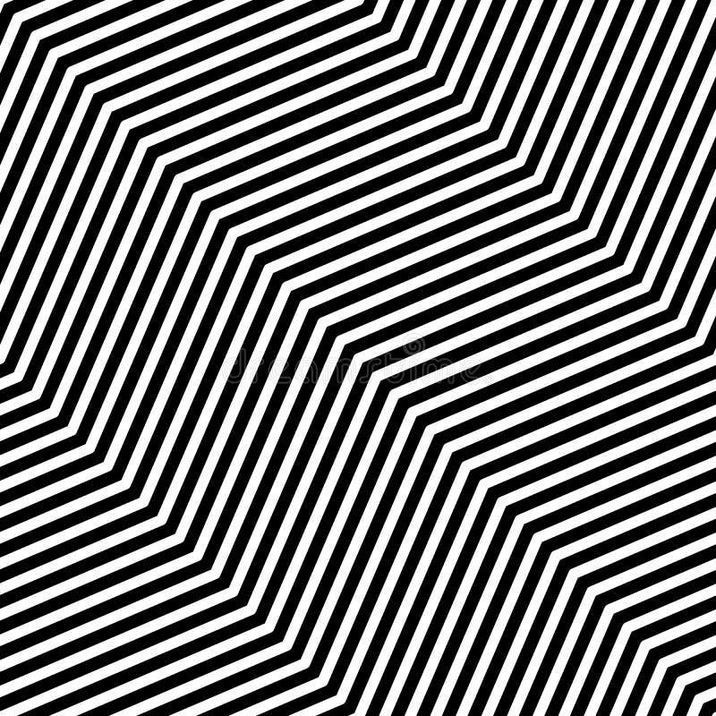 Teste padrão sem emenda da arte op do vetor abstrato Ornamento preto e branco gráfico monocromático Ilusão ótica listrada que rep ilustração royalty free