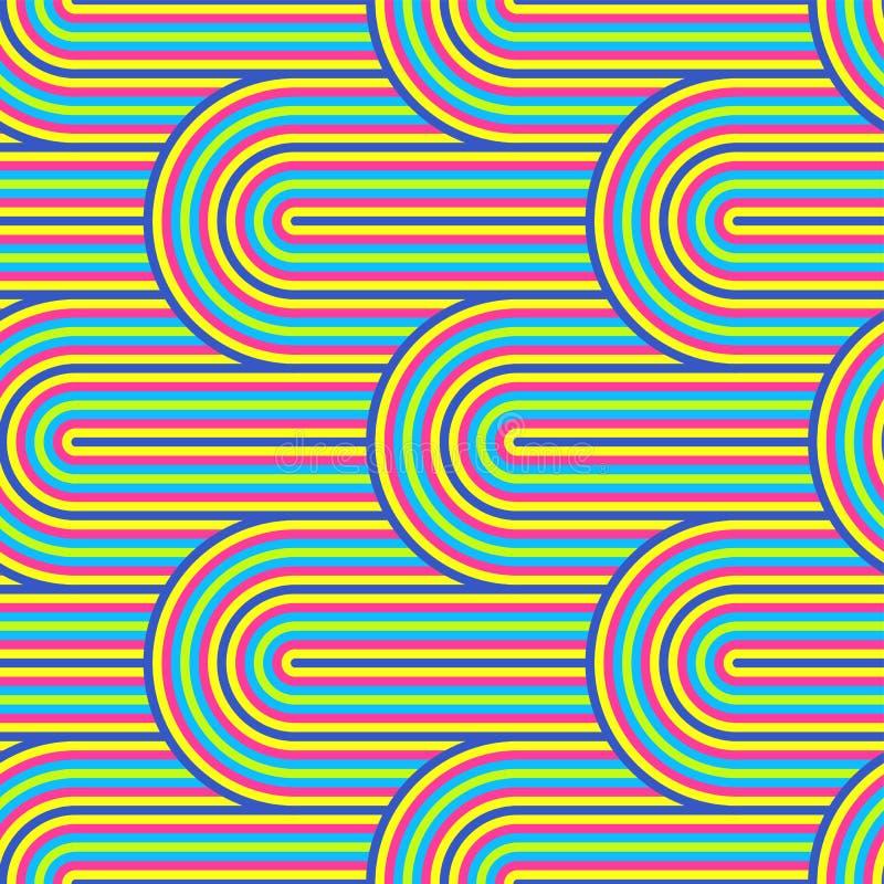 Teste padrão sem emenda da arte op do vetor abstrato Pop art colorido, ornamento gráfico Ilusão ótica 70s ilustração royalty free