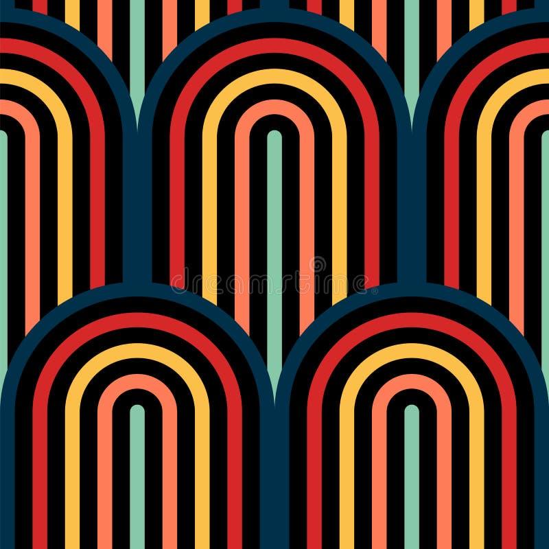Teste padrão sem emenda da arte op do vetor abstrato Pop art da cor, ornamento gráfico Ilusão ótica ilustração do vetor