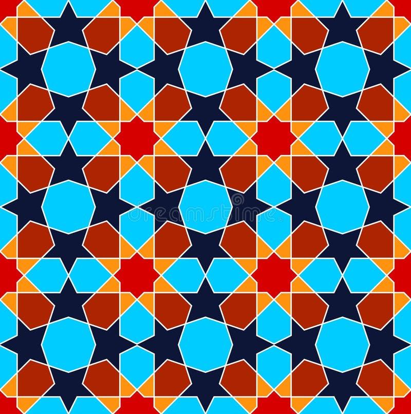 Teste padrão sem emenda da arte persa azul geométrica ilustração royalty free