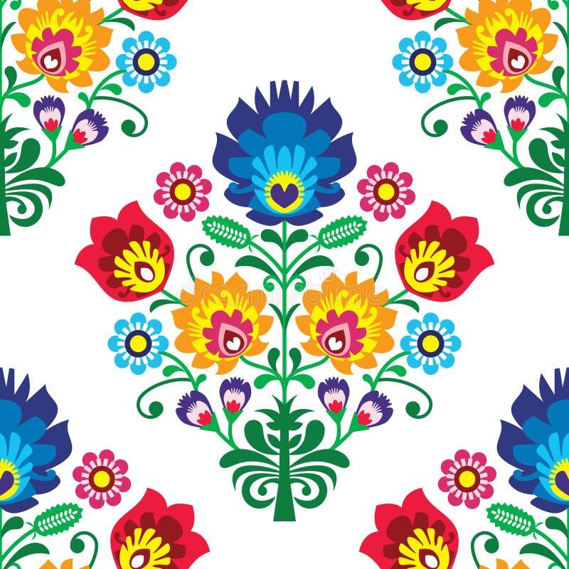 Teste padrão sem emenda da arte popular - projeto repetitivo tradicional polonês com flores ilustração do vetor